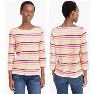 J Crew Women's Multicolor Striped Boatneck Pullover T Shirt Top Pink Size XS